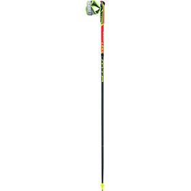 LEKI Micro Trail Race Bastones Trail Running plegable, neon red/darkred/grey/white/neon yellow